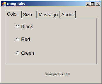 Add controls to Tab page