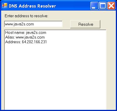 DNS Address Resolver