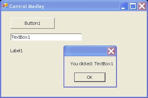Label, TextBox and Button