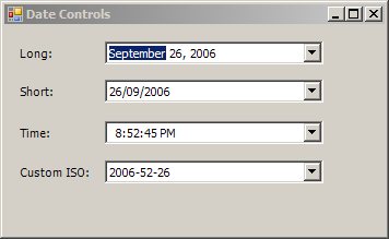 DateTimePicker Format: Short, Time, default and Custom Format