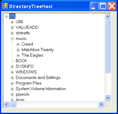 Directory tree and property grid