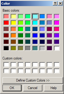 Display color dialog and get user selection