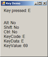 Displaying information about the key the user pressed