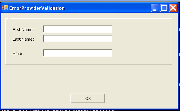 Error Provider Validation