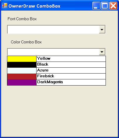 ComboBox with color cell renderer