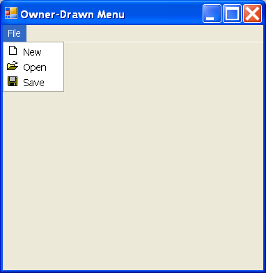 Owner Drawn Menu