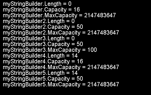 StringBuilder's properties for different constructors