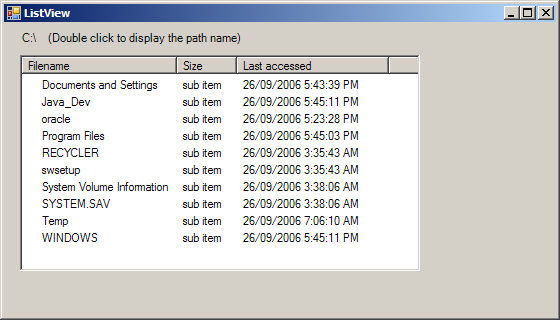 Use ListView to diaplay folder info and double click to enter that directory