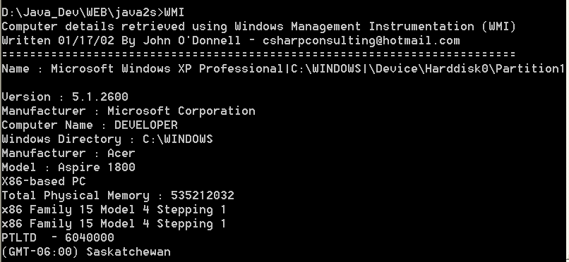 Computer details retrieved using Windows Management Instrumentation (WMI)