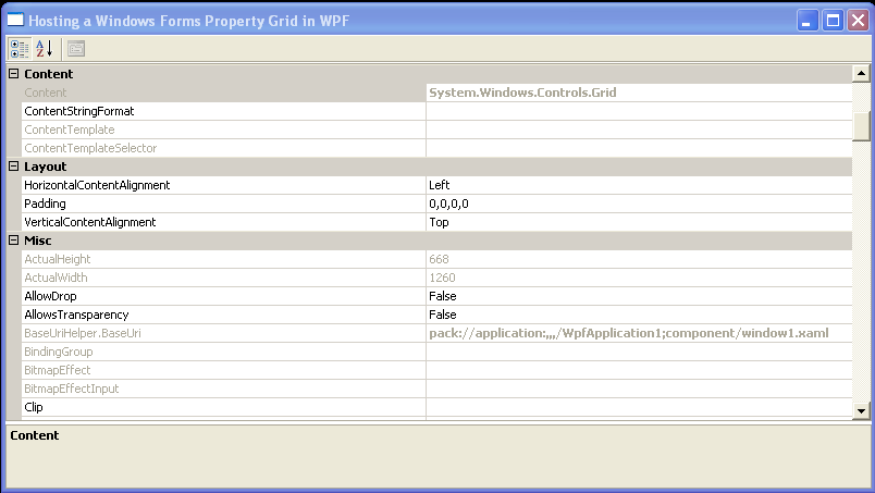 Add the PropertyGrid to the host, and the host to the WPF Grid