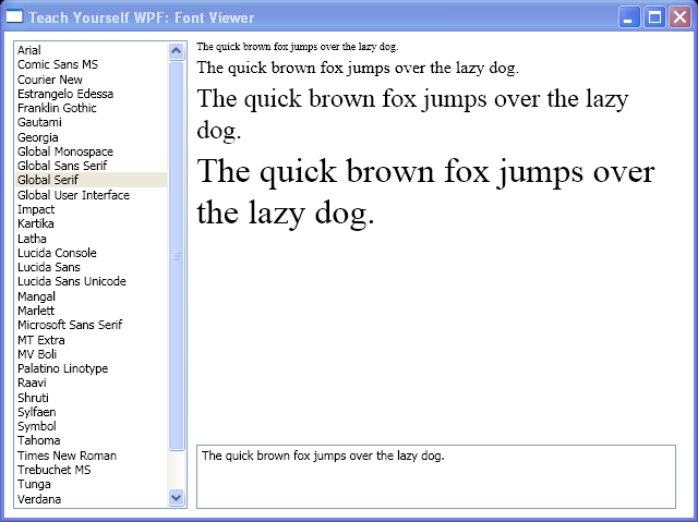 Binding ListBox ItemsSource to Fonts.SystemFontFamilies