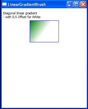 Diagonal linear gradient with 0.5 Offset for White