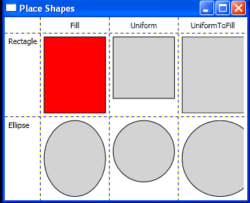 Place and size rectangles and ellipses in Grid cells