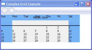 Use Grid to layout a Calendar