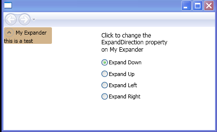 Use the Expander control and set the ExpandDirection property