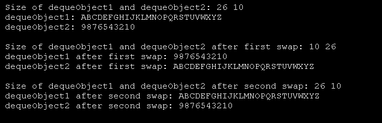 Demonstrate swap() for deque
