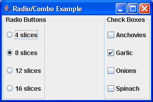 Radio button, ComboBox
