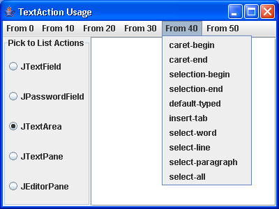 Actions MenuBar