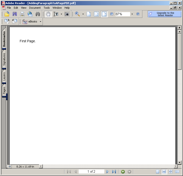 Adding Paragraph to a Page