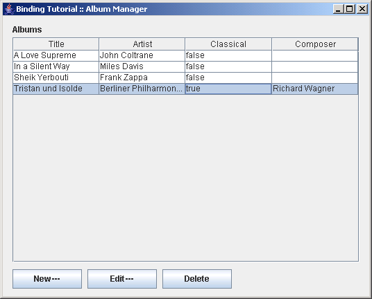Builds a user interface for managing Albums using a table to display