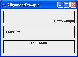 A simple demonstration of text alignment in JLabels