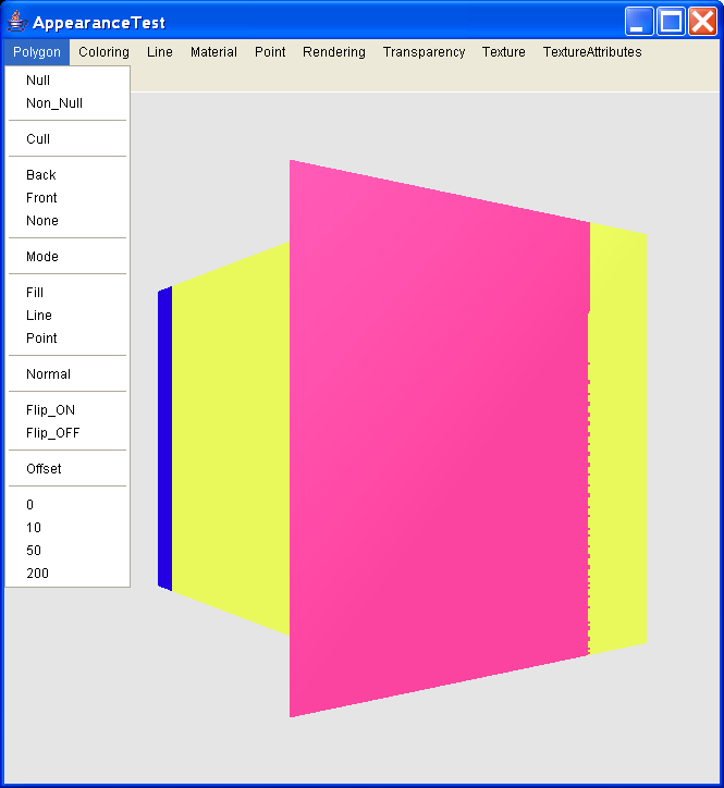 Allows the various Java 3D Appearance components to