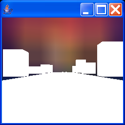 Displays a simple driving type game scene, using texture mapped cubes