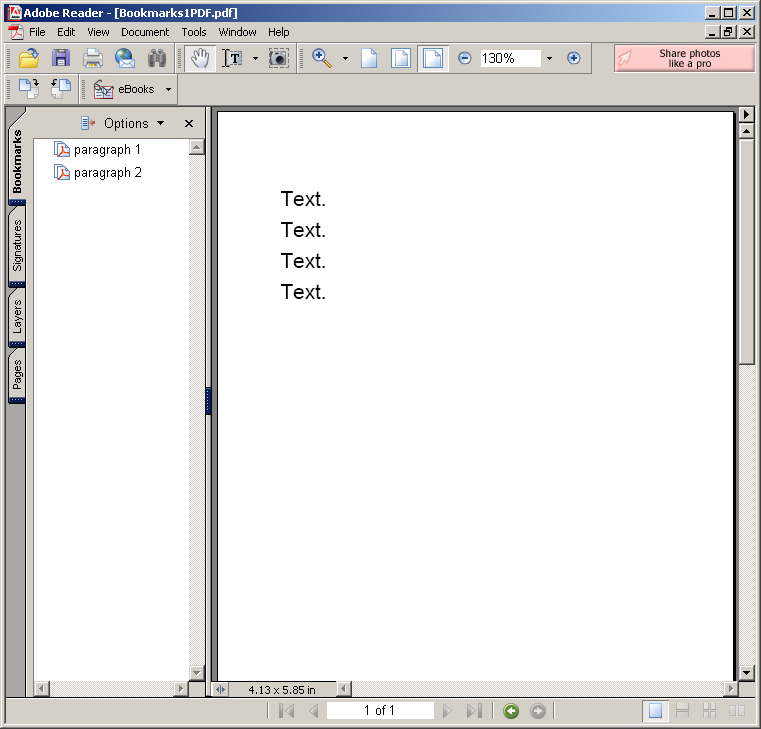 Adding Bookmarks with outline for PDF document
