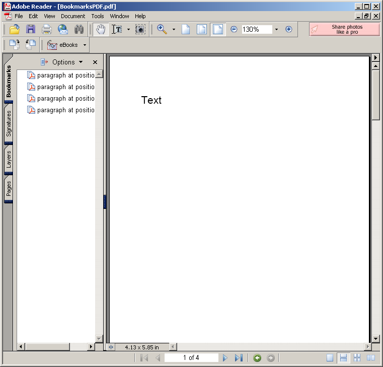 Adding Bookmarks for PDF document