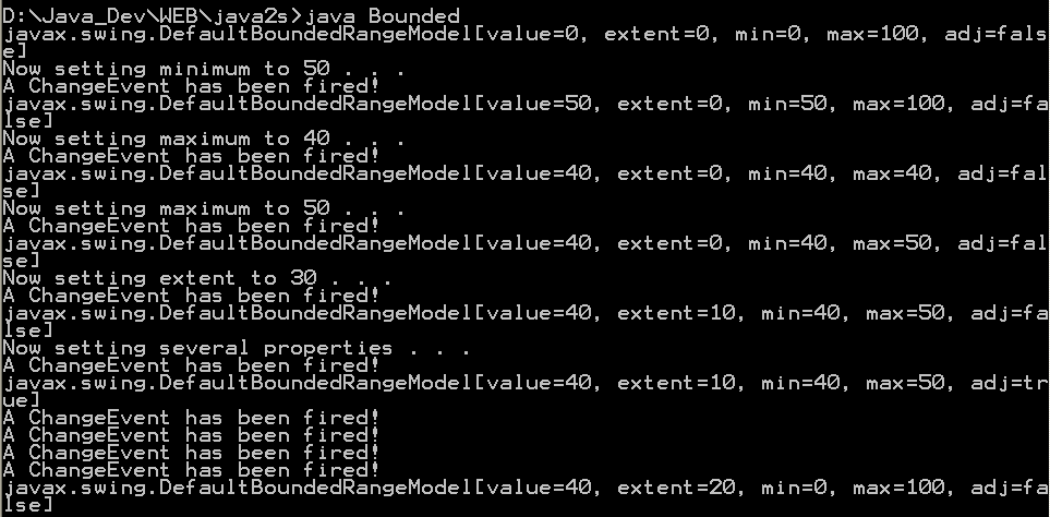 A demonstration of the ChangeEvents generated by the BoundedRangeModel