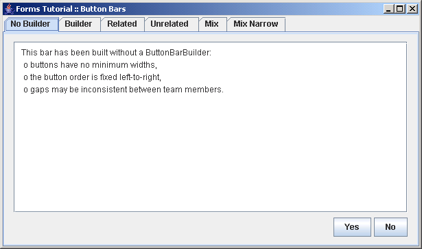 Demonstrates how to build button bars using a ButtonBarBuilder