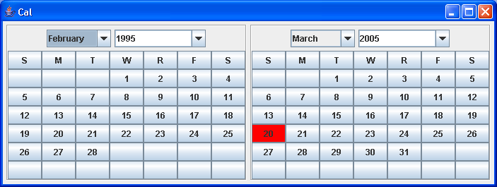 Bean to display a month calendar in a JPanel