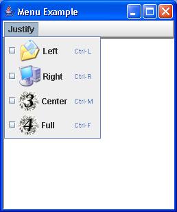 A quick demonstration of checkbox menu items