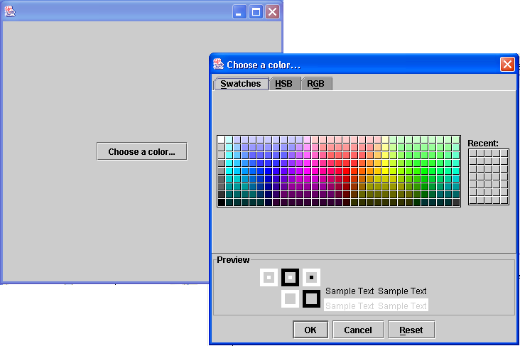 JColorChooser demo