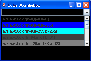 Color ComboBox: ComboBoxEditor Demo