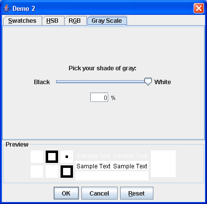 JColorChooser dialog with the custom GrayScalePanel picker tab.