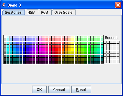 JColorChooser dialog with a custom preview pane.