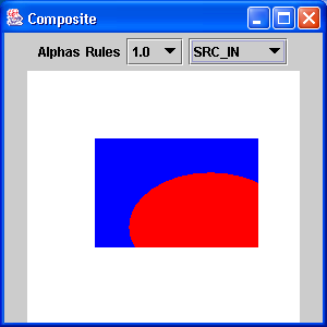 Renders an ellipse overlapping a rectangle with the compositing rule and alpha value selected by the user