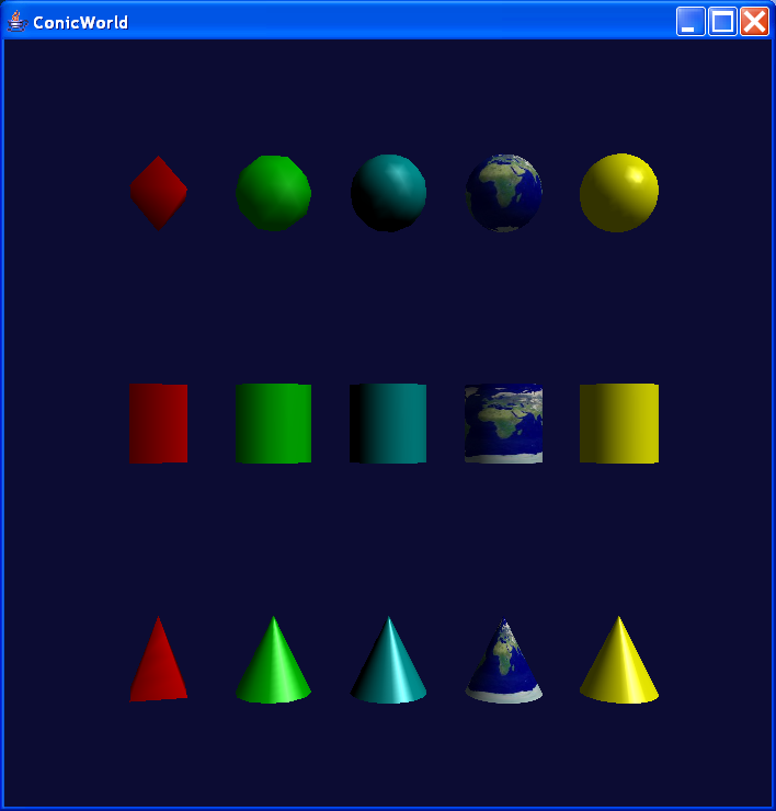 Spheres, cylinders, and cones of different resolutions and colors