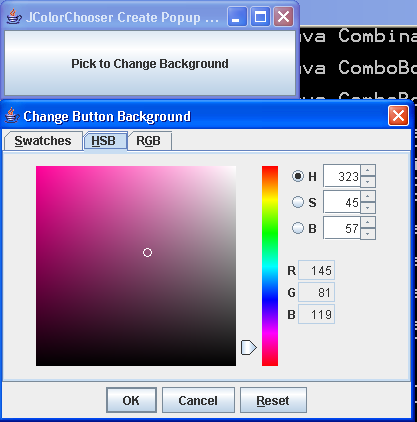 Create Color Sample Popup