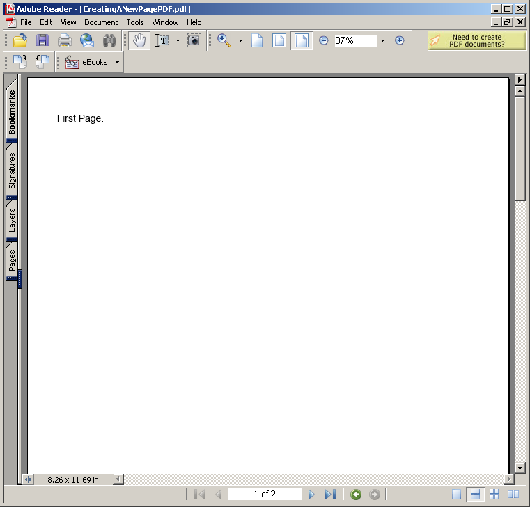Creating a New Page for PDF document
