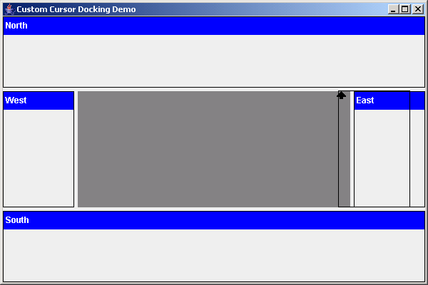 Cursor indication for dockable component
