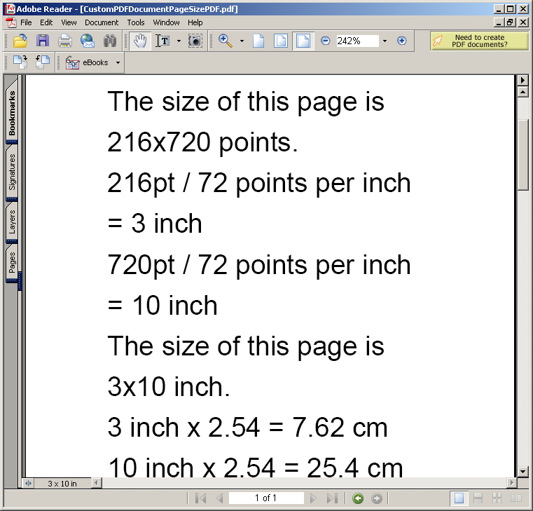 Custom PDF Document: Page Size