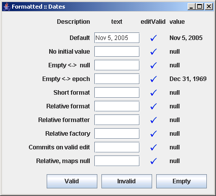Different configurations of JFormattedTextField
