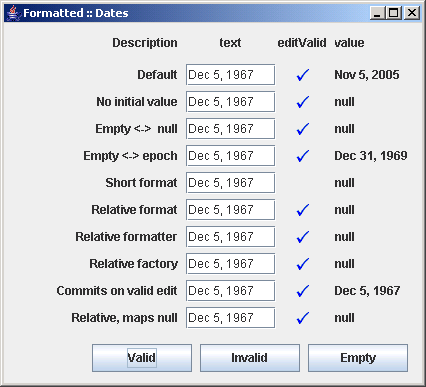 Different configurations of JFormattedTextField: Date