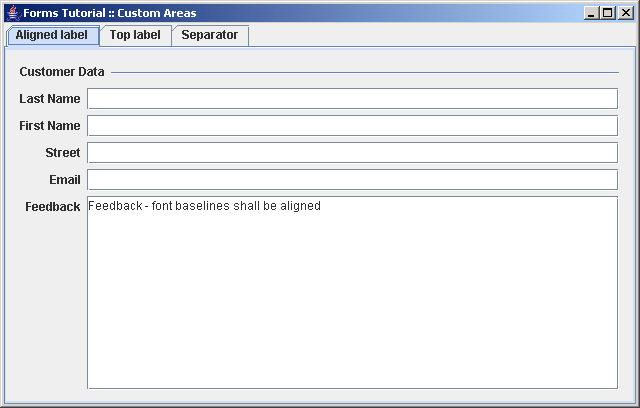 Compares approaches how to append a custom area at the end of  a panel built with the DefaultFormBuilder