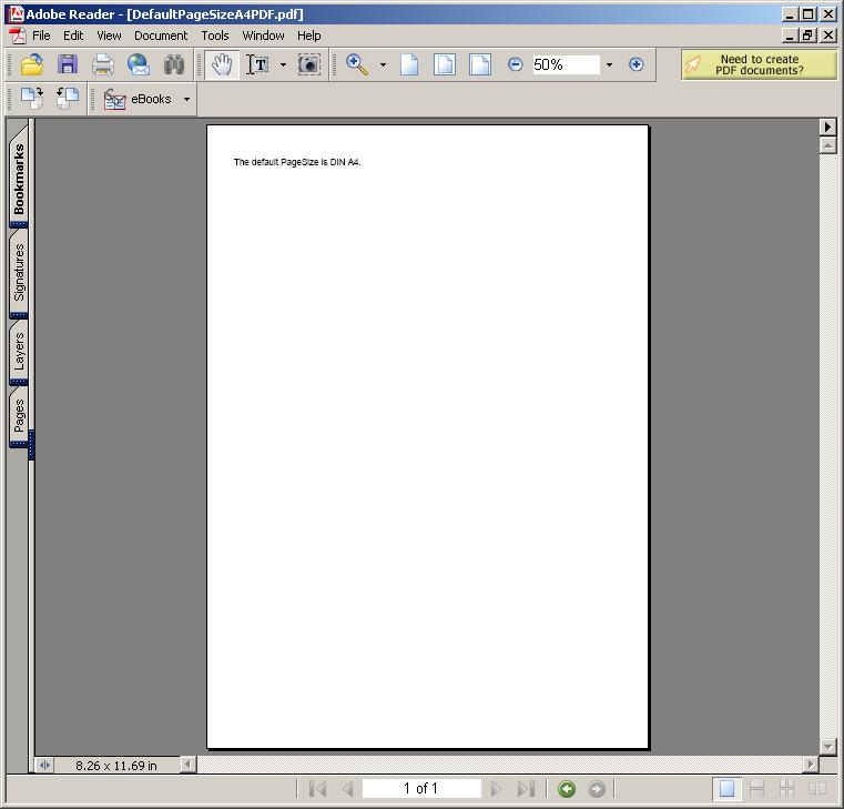 Default Page Size A4