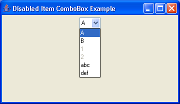 Disabled ComboBox Example