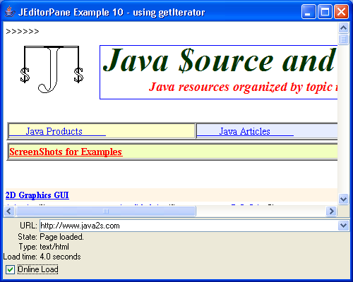 JEditorPane Example 10 - using getIterator