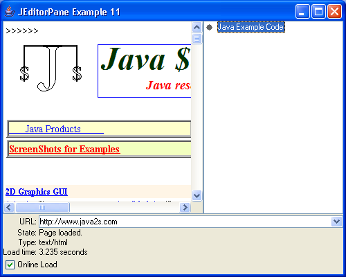 JEditorPane Example 11